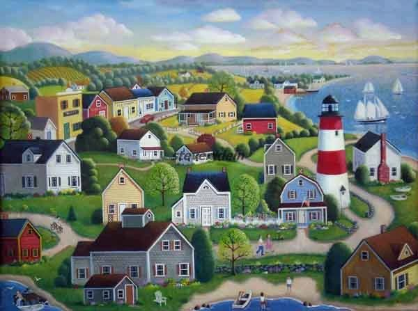 "Lighthouse Coast  18""x24""  Acrylic painting on board. Busy harbor with lighthouse, sailboats."