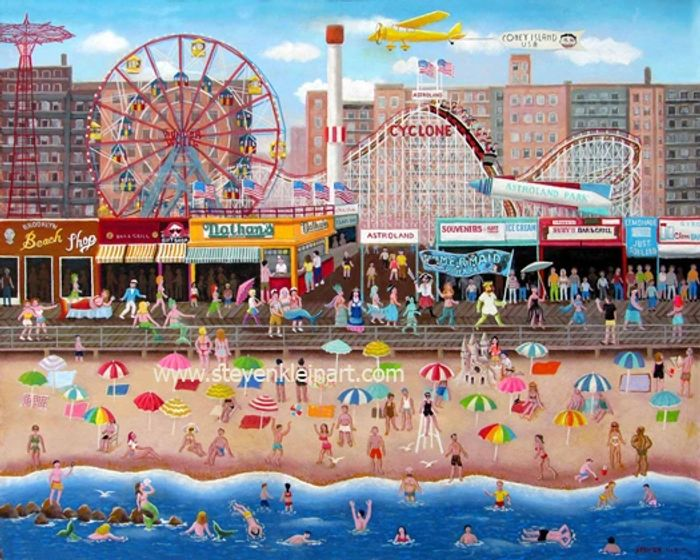 "Mermaid Parade, 18""x 24"" Acrylic painting of the famous Coney Island boardwalk in Brooklyn N.Y.C."