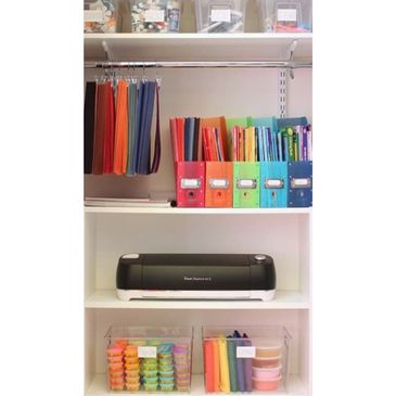 Kid craft closet organized using temporary storage solutions