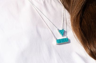 YYL LUXE Sterling Silver Turquoise Druzy Pendant Kate Necklace JEWELRY