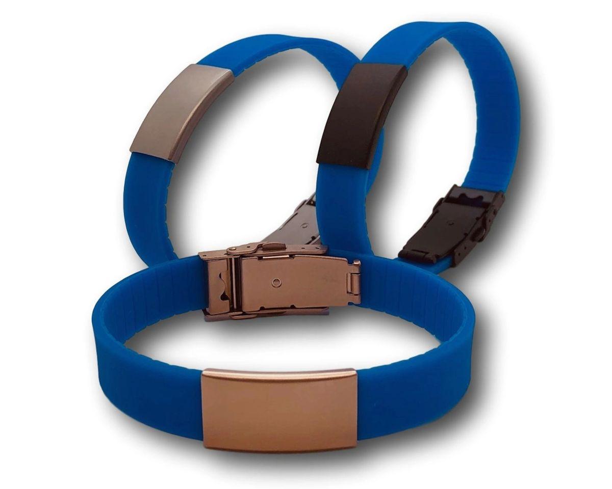 Black Bracelet 15mm ID Bracelet Diabetes Bracelet Rose Gold Faceplate Personalized Medical Bracelet