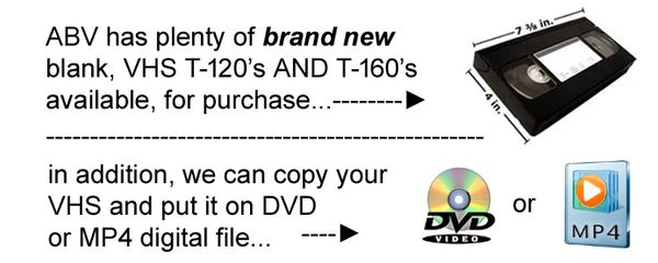 This is a diagram, showing that New Blank VHS Videotape, are available. We offer two videotape lengths. Two hour length and 2 hour 40 minutes.