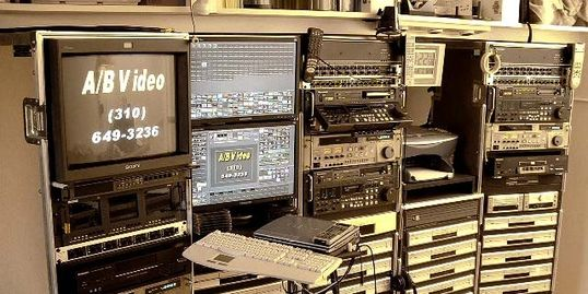 VHS, Hi-8, Mini-DV, U-Matic & Analog BetaCam to DVD, dubbing bay.