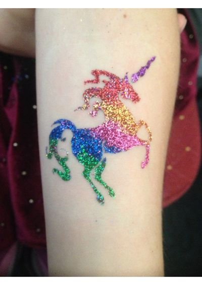 unicorn glitter tattoo by Steve Nixon
