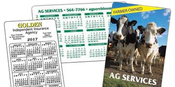 Plastic calendar cards, printed in full color or spot colors.