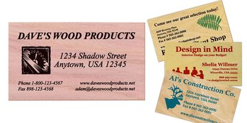 Wooden business cards printed in one or two colors of ink on cedar, cherry, maple or birch wood.