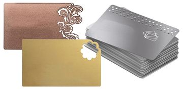 Metal, stainless steel business cards can be laser engraved or screen printed.