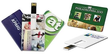 Full color business cards with USB flash drives.