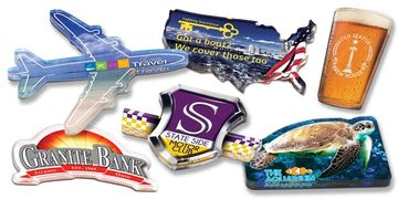 Full color, custom-shaped magnets with protective acrylic layer and 25 mil full magnetic backing.
