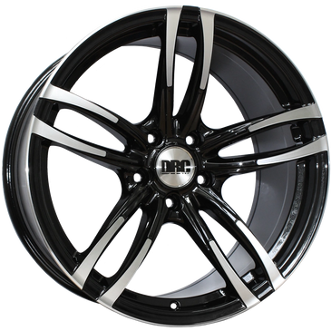 DRC DMF gloss black polished twin 5 spoke concave wheel