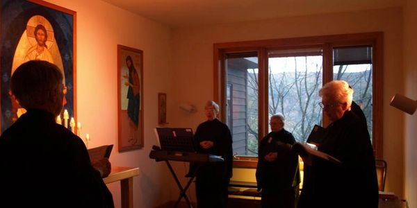 Nuns of New Skete in their chapel for services.