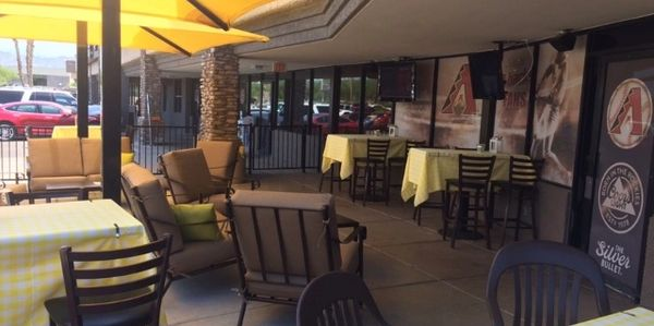 arena sports grill outdoor relaxing, fun patio that's beautiful in all weather