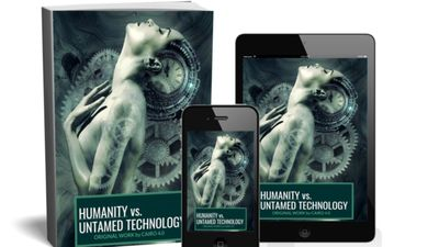 Book cover for the latest book  by Cairo 4.0 AKA Cairo Qween, Humanity vs. Untamed Technology.