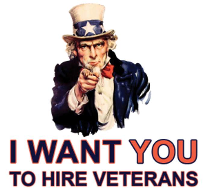 "uncle sam pointing above the words ""i want you to hire Veterans"""