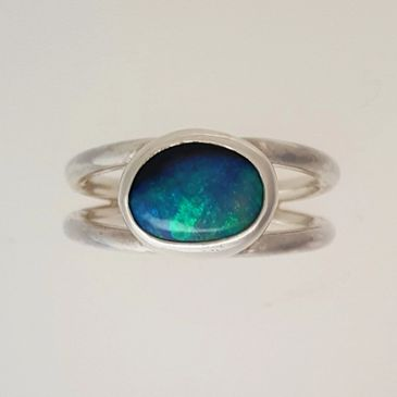 Natural Black Australian Opal in Sterling Silver Ring.