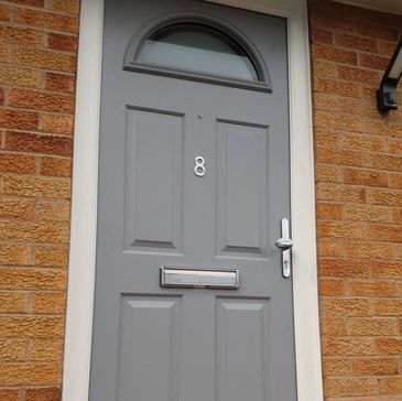 Silver Grey Solid Core composite door fitted in Bolsover by Worksop Composite Doors' installers.
