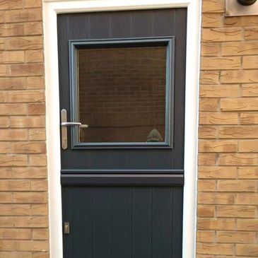 Anthracite Grey Solid Core composite door fitted by Worksop Composite Doors.