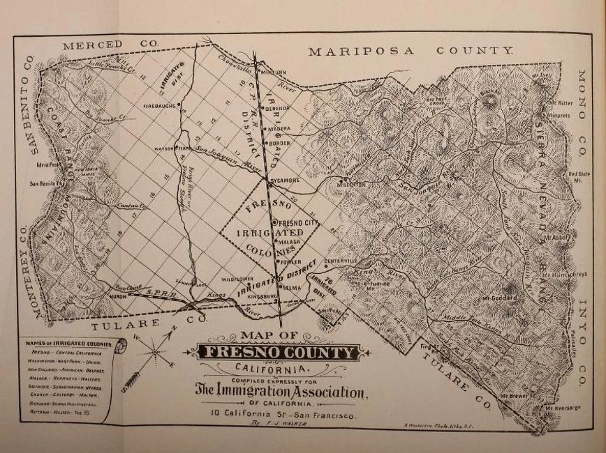 1885 map of Fresno County