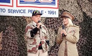 Bob Hope and Ann Jillian performing during a 1991 Operation Desert Storm show