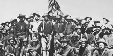 """Colonel Roosevelt and his Rough Riders at the top of the hill they captured, Battle of San Juan"