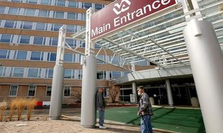 file photo shows  entrance to the William S. Middleton Memorial Veterans Hospital in Madison, Wis.