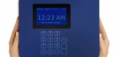blue time clock with the time of 12:23 AM