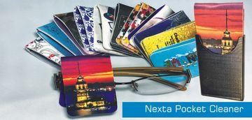 Nexta pocket style microfiber lens cleaning cloth with dijital printing.