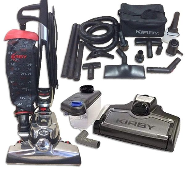 With its powerful LED headlight, the gray Kirby Sentria G10D lights the ground as you vacuum The HEP