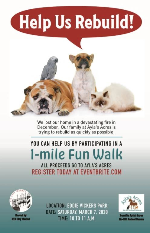 This is a party for your dog but you can come too.  Show your support for Ayla's Acres by registeri