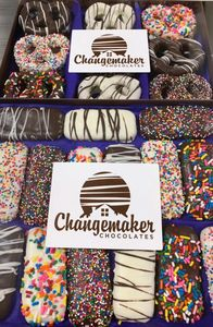 custom gifts, corporate gifts. chocolate, chocolates, changemaker chocolates, box of chocolates, chocolate covered oreo cookies, chocolate covered pretzels, chocolate dipped biscoff cookies