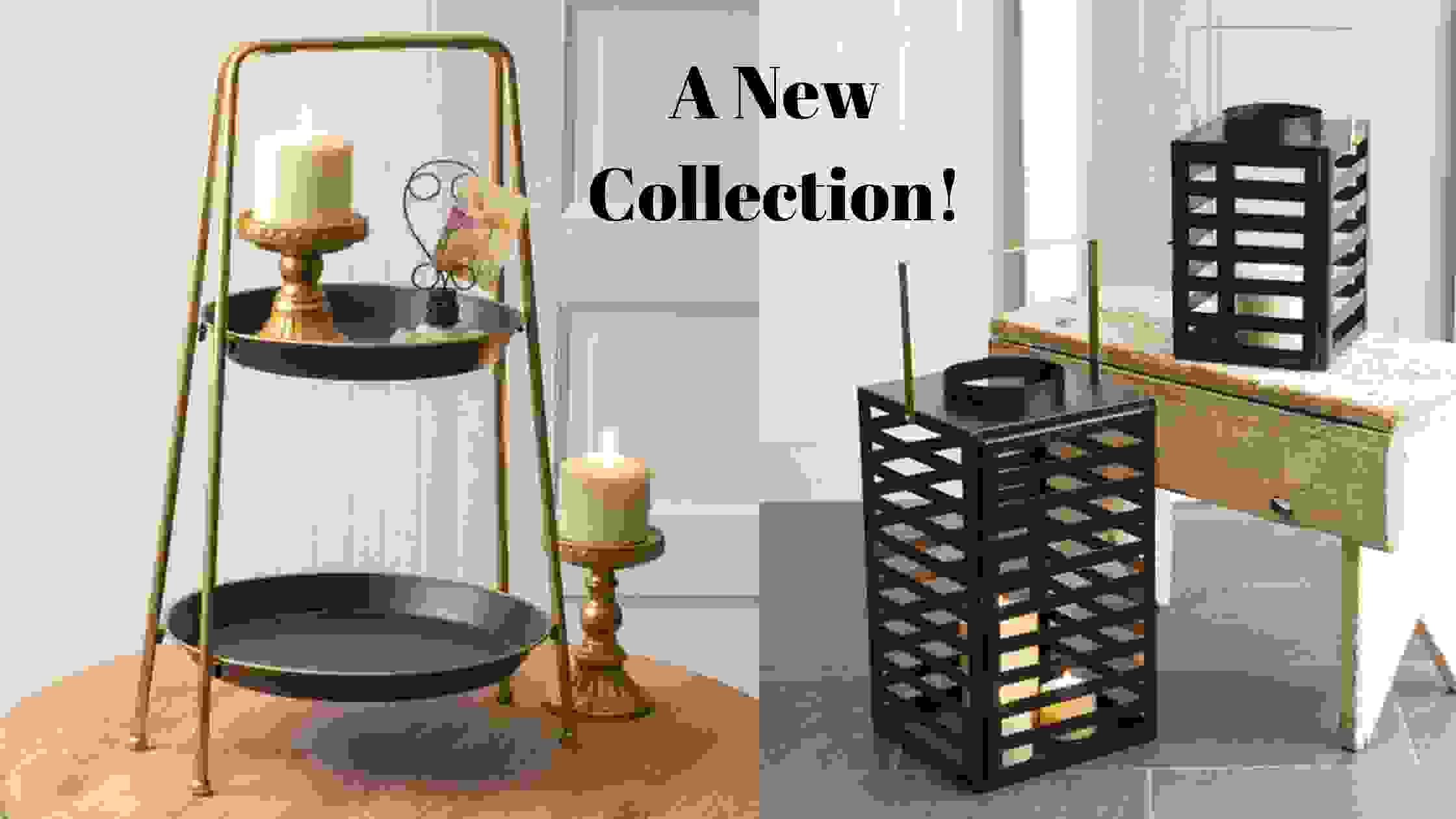 Black Gold Two Tier Tray and Black Gold Lanterns from Rosemary Honey Designs Charlotte NC