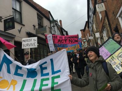Extinction Rebellion Lincolnshire march in Lincoln city centre
