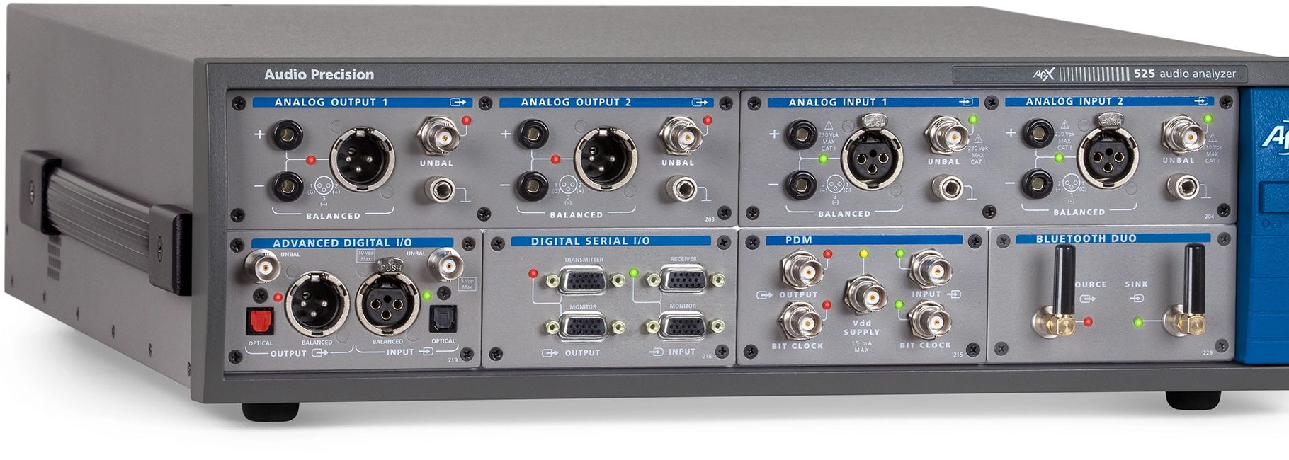 The Audio  Precision ApX 525 is one of many high resolution testing devices we deploy in our lab.