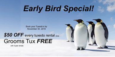 Save 50.00 off tuxedo rentals plus groom's tuxedo FREE with 5 paid rentals.