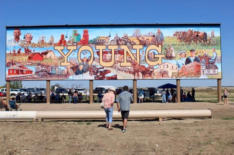 """forever YOUNG"" touted as ""World's Largest Free-Standing Mural"" by Michael R. Gaudet at Young, SK."