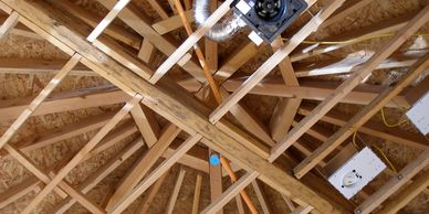 Detail of ceiling framing, Scorupco Residence. Photo by Eve Reynolds.