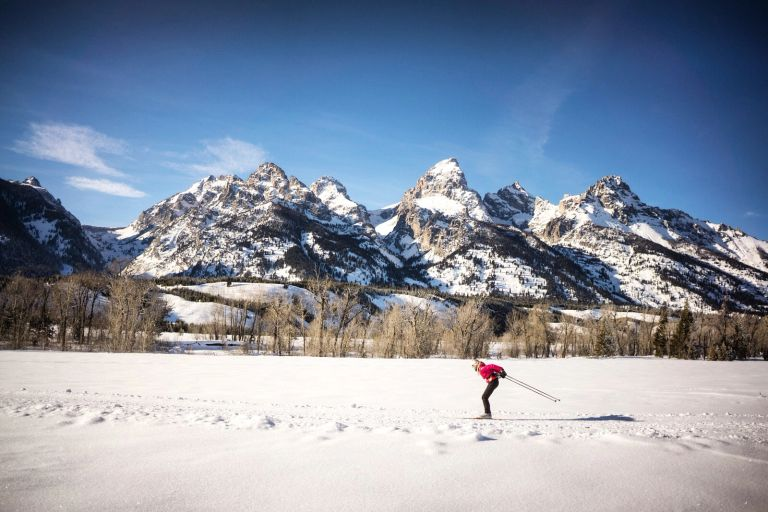 Cross Country Skiing in Grand Teton National Park north of Jackson Hole Wyoming