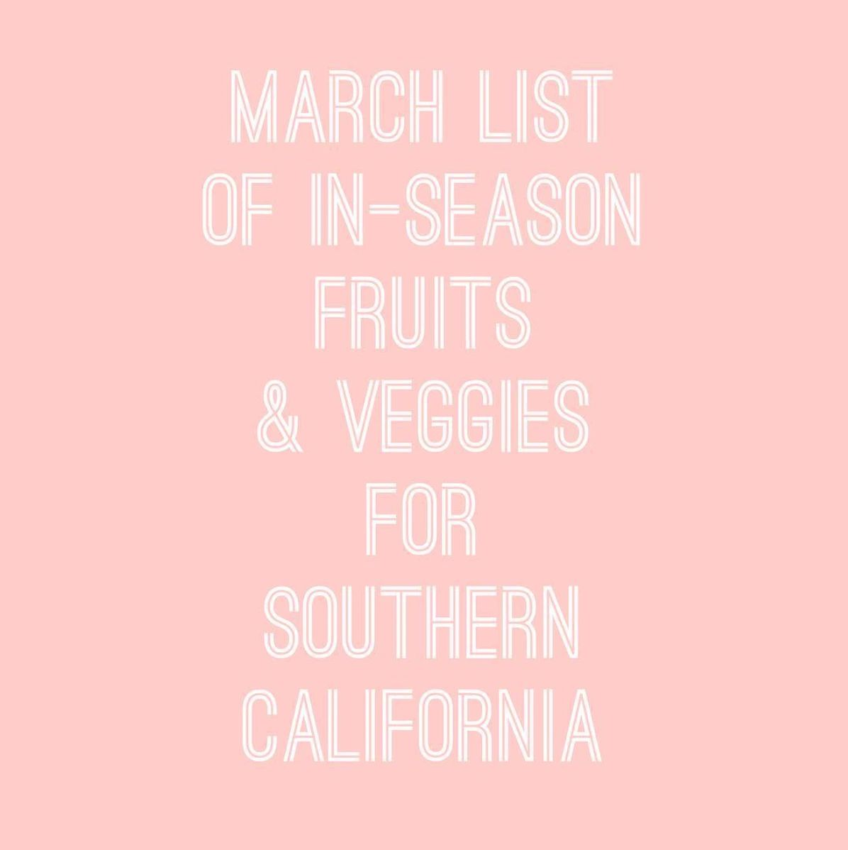 In- Season Fruits and Veggies for March
