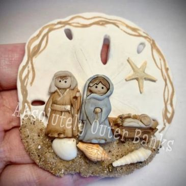 Beautiful Sand Dollar Nativity Ornament