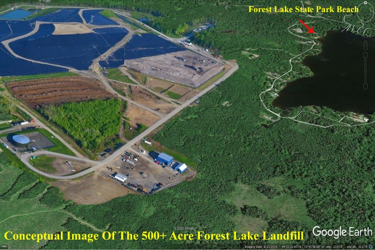 Conceptual rendering of the proposed 500+  landfill development adjacent to Forest Lake State Park