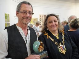 David King receiving the Mayor's Award from Jan Parry, Mayor of Ipswich