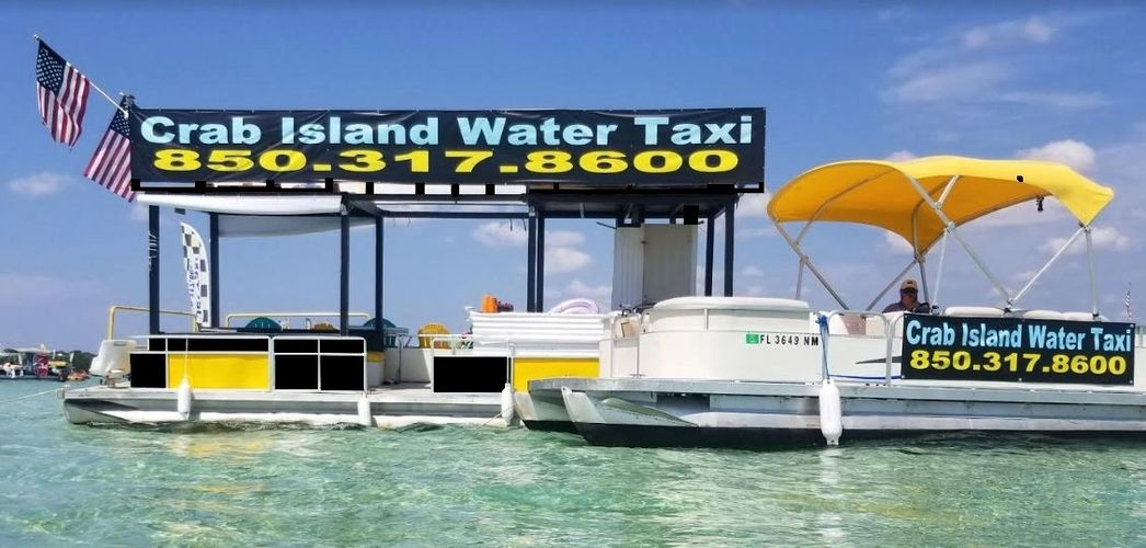 crab island water taxi pontoon rentals branding boat advertising