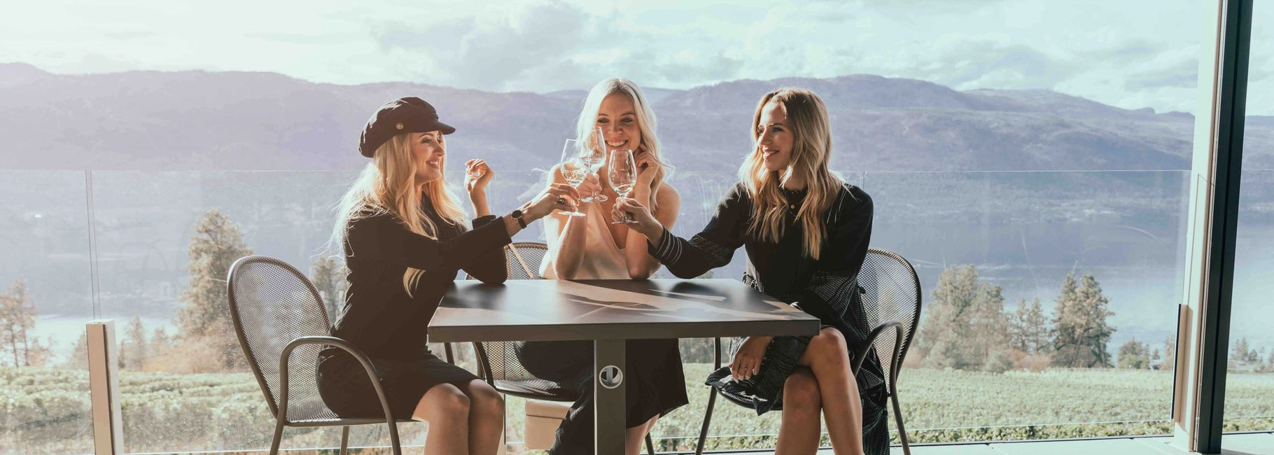 Women raising wine glasses on patio.
