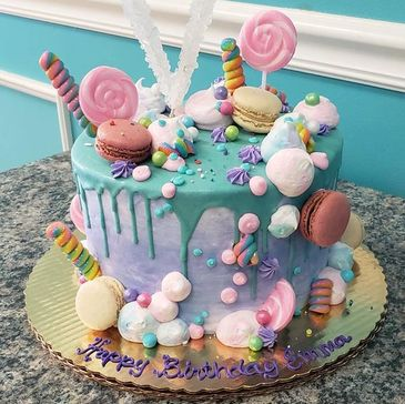 Deliciously Sweet candy cake with French Macarons and Rock Candy!
