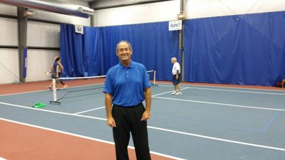 John Callahan teaches Pickleball Lessons in St. Louis, indoors at Frontenac Racquet Club.