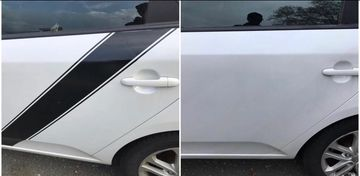 Before and after vinyl decal removal