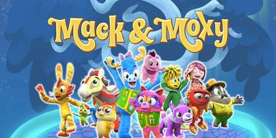 The animated cast of Mack & Moxy, with Hank Azaria, Keegan-Michael Key, Rachael Ray & Simone Biles.