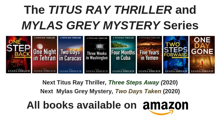 Luana Ehrlich, author of Titus Ray Thrillers and Mylas Grey Mysteries.