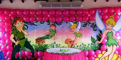 birthday backdrops are integral part of birthday decoration idea its placed backside of cake table,