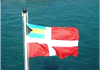 The Bahamas Courtesy Flag is flown by a visiting ship in foreign waters as a token of respect.